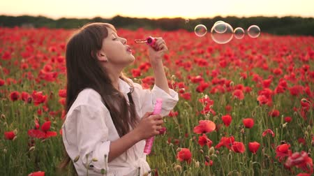hafifletmek : Little girl blowing soap bubbles in blooming field of red poppies at sunset, slow motion