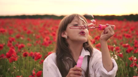 lehkost : Little girl blowing soap bubbles in blooming field of red poppies at sunset, slow motion