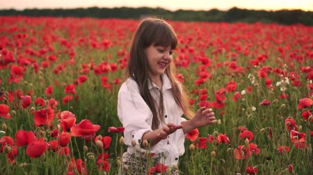 lehkost : Little smiling girl catches soap bubbles in blooming field of red poppies, slow motion