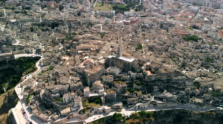 italia : Aerial view of ancient town of Matera, Fly back Stock Footage