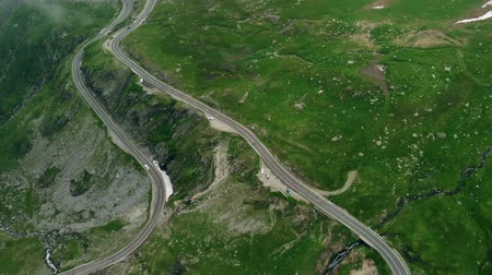 serpentine : Aerial view Transfagaras mountain road, Romania, Transylvania
