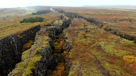 wina : Autumn landscape in Iceland, rocky canyon on background of mountain, drone shot