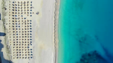 parasol : Top down view beautiful sandy beach in Ionian Sea, Greece