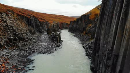 esplêndido : Drone flies over canyon of black basalt columns, Iceland