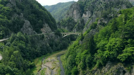 romeno : Aerial view of the arched bridge connecting a mountain road in the Romanian Carpathians, drone flies around