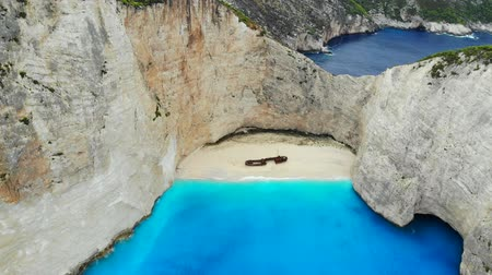 navagio : Top down aerial view of a beautiful Navagio beach in the Ionian Sea on the shore of Zakynthos island, Greece Stock Footage