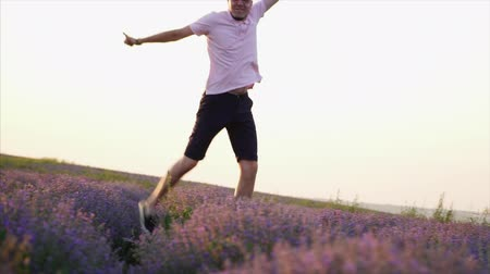 emelt : Young happy man jumping up in a field of lavender. Slow motion. Stock mozgókép