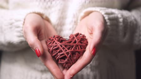 słoneczko : Close-up female hands holding a decorative heart, selective focus, slider shot. Valentines day concept. Wideo