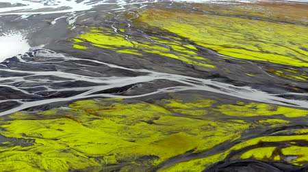 arter : Aerial view of glacier river delta in Iceland, Drone rotates