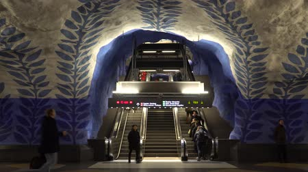 STOCKHOLM, SWEDEN - DECEMBER 4, 2019: People on the station T-Centralen of Stockholm. View of the escalator. Stock Footage
