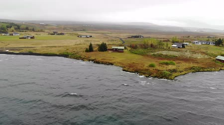iceland landscape : Aerial view of the lake house in national park Thingvellir, Iceland. Stock Footage