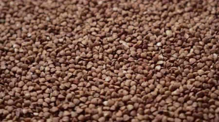 kabuksuz tahıl : Raw buckwheat grains rotate, close-up. Top down view. Stok Video