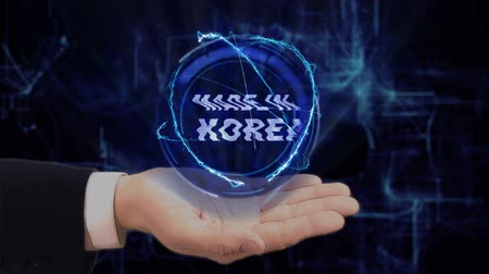 fabricated : Painted hand shows concept hologram Made in Korea on his hand. Drawn man in business suit with future technology screen and modern cosmic background Stock Footage