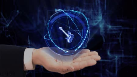 rocker : Painted hand shows concept hologram 3d guitar on his hand. Drawn man in business suit with future technology screen and modern cosmic background Stock Footage