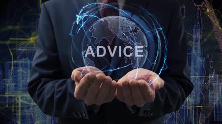 question : Male hands activate a conceptual holographic text Advice. Businessman in a suit with a hologram of planet Earth on a background of a futuristic wireframe city