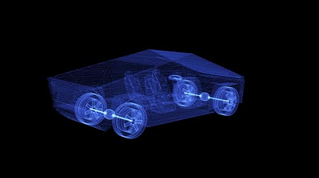 výbava : Hologram of a rotating modern electric pickup truck. 3d animation of a powerfull lorry with seamless loop background Dostupné videozáznamy
