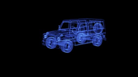 crossover : Hologram of a rotating modern Bulletproof Suv. 3D animation of shot-proof Sport Utility Vehicle on a black background with a seamless loop
