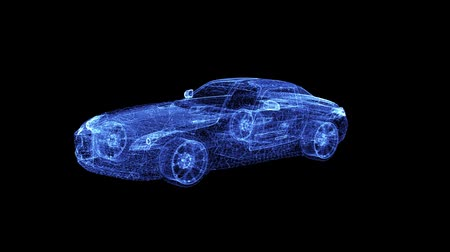 inspiráló : Hologram of a modern Racing Car. 3D animation of sport auto on a black background with a seamless loop Stock mozgókép