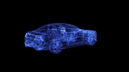 especial : Hologram of a wireframe sport Car. 3D animation of racing vehicle on a black background with a seamless loop