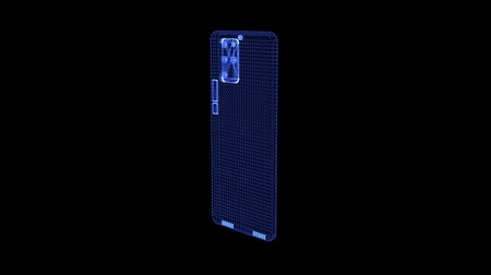 aspirazione : Hologram of a rotating four camera smartphone. 3D animation of modern mobile phone device with seamless loop Filmati Stock