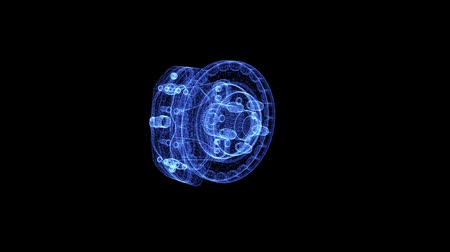 freio : Hologram of a rotating brake disc and caliper. 3D animation of car brake element on a black background with a seamless loop Vídeos