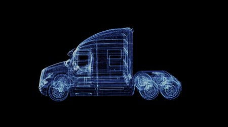 tir : Hologram of a particle modern American Truck. 3D animation of large goods vehicle on a black background with a seamless loop