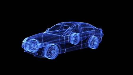 especial : Hologram of a wireframe Car. 3D animation of luxury vehicle on a black background with a seamless loop