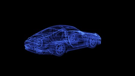 kupé : Hologram of a modern coupe Car. 3D animation of sport auto on a black background with a seamless loop