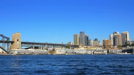 kirribilli : Panning shot of Sydney Harbor, Sydney CBD and Sydney Harbor Bridge, 4k