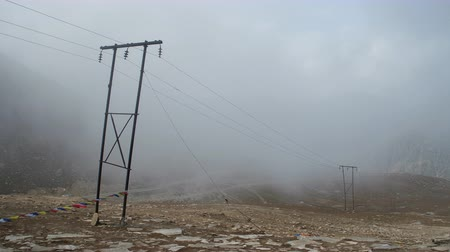 High voltage transmission line situate in Himalayas, India to transfer electricity. Stock Footage