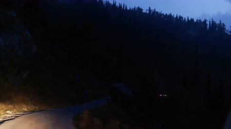 Timelaps of mountain road in the Himalayas at night