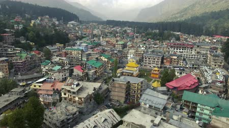 Aerial panorama of a small asian town in the mountains