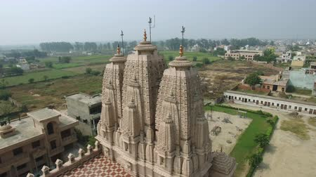 Aerial view of Jain temple in the suburbs of Delhi