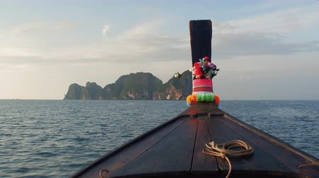 Journey to Paradise. The boat follows the tropical island of Phip-lei Stock Footage