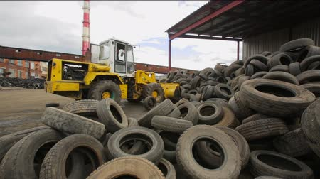 Environmentally friendly tire recycling Stock Footage
