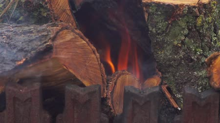 dřevěné uhlí : Wood burning in a cast iron grill