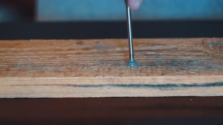 csavarhúzó : Craftsman drives the screw into the untreated unpainted wooden board with a screwdriver. Stock mozgókép