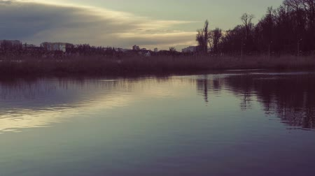refletir : Lake landscape at sunset. Stock Footage