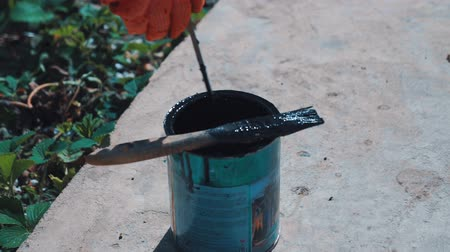 floriculture : Closeup shot of a painters hand stirring a paint in a jar on the street.