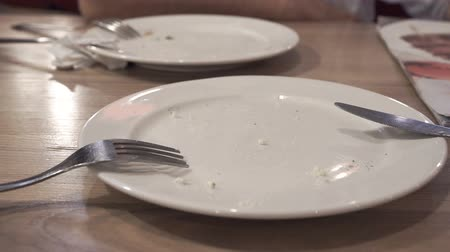 leftover : Close up of empty dirty dish with fork and napkin left on table