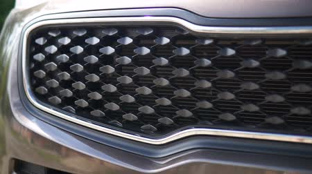 alaşım : Front grill of a car. Modern car. Stok Video