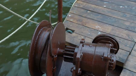 marine technology : Close up Large gray Metal Gear chain for anchor used in the shipping industry.
