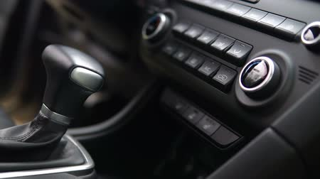tuning : footage of a vehicle gear lever, modern car inerior Stock Footage