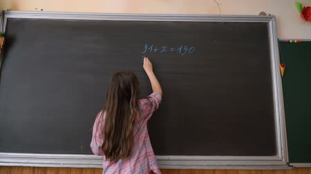 çözmek : Young Student Writing Complex Mathematical Formula Equation on the Blackboard.