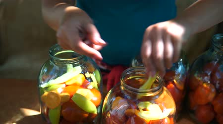 augurk : woman puts tomatoes in jar for preservation, preparation of canned vegetables