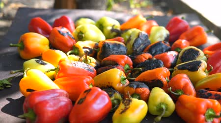 Red and yellow sweet pepper cooking on the grill over coals. Dostupné videozáznamy