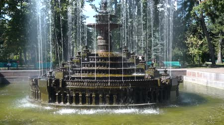 Beautiful fountain in city park, Baroque architecture. Steadicam shoot.