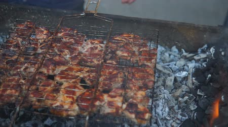 grille : Barbecue With Delicious Grilled Meat On Grill. Barbecue Party. Chicken meat pieces being fried on a charcoal grill.