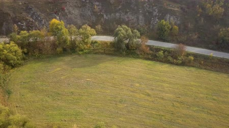 gramíneo : Flight over a village road and green grassy fields.