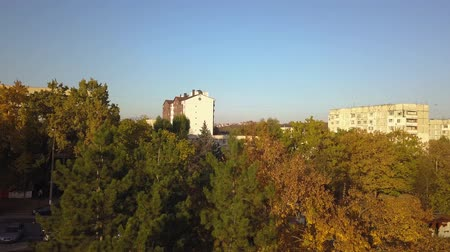 manor : Aerial shot of autumn city, Kishinev, Moldova. Stock Footage